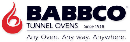 The design of this logo cleverly incorporates a flame created with the letters C and H, which are the company founder's initials.  The word BABBCO is adjacent to the flame graphic with the words Tunnel Ovens under BABBCO.