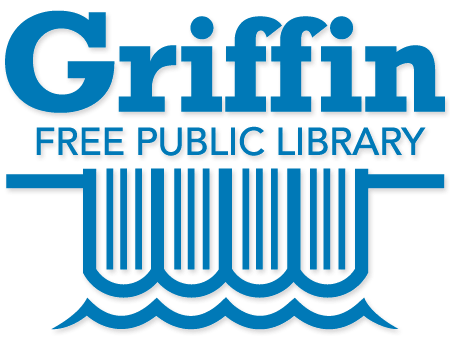 This logo displays in a large front the word Griffin with the words Free Public Library underneath. Under the words 4 books are illustrated from a top perspective and water wakes cradle the bottom of the books so it looks like water flowing over a dam.