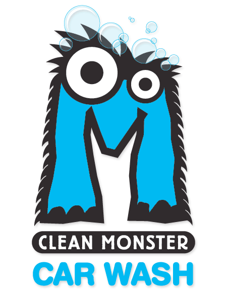 The logo displays a large M which looks like a blue furry and soapy monster.  The words Clean Monster and Car Wash are under the large monster M.