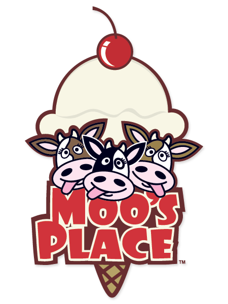 This is a logo which displays the illustrated heads of 3 cows above the words Moos Place.  A large illustration of an ice cream cone is the background of the image.