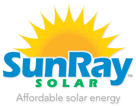 This is a logo for SunRay Solar. It displays a uniquely designed sun graphic over the words SunRay.