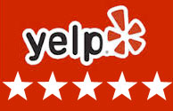 Yelp logo and stars
